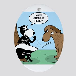 Dog Meets Skunk Ornament (Oval)