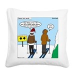 Idiot Skiers Square Canvas Pillow