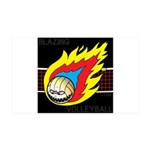 Blazing Volleyball 35x21 Wall Decal
