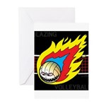 Blazing Volleyball Greeting Cards (Pk of 20)