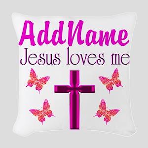 JESUS LOVES ME Woven Throw Pillow