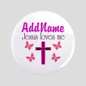 """JESUS LOVES ME 3.5"""" Button"""