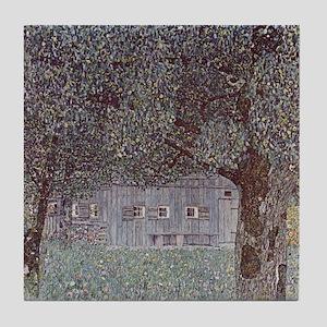 Klimt Art Deco Garden Barn Trees Art Tile Coaster