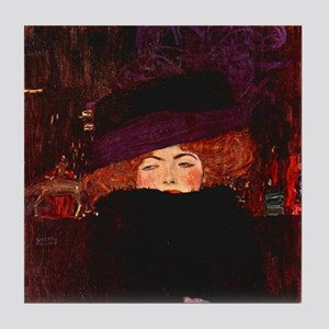 Klimt Art Tile Coaster Lady w Hat and Feather Boa