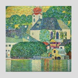 Gustav Klimt Art Deco Tile Coaster Church by Water