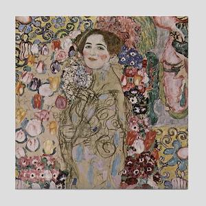 1of2 Klimt Art Tile Coaster Portrait of Maria Munk
