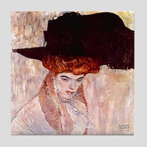 Gustav Klimt Art Tile Coaster Lady w/ Feather Hat