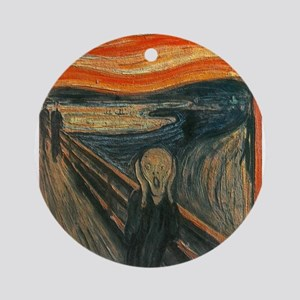 The Scream (Textured) by Edvard Mun Round Ornament