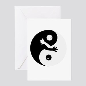 Hugging ying/yang Greeting Cards