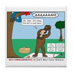 Witnessing False Bears Tile Coaster