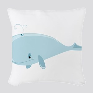 Blue Whale Woven Throw Pillow