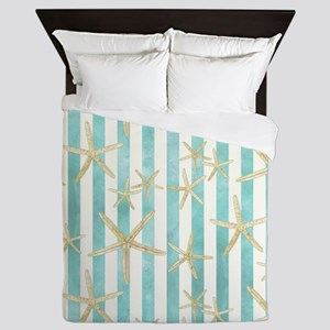 Starfish, White Finger Ocean Shells Be Queen Duvet