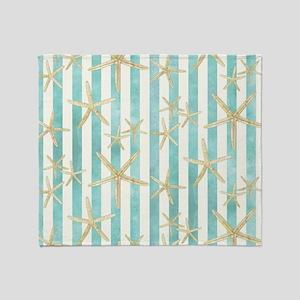 Starfish, White Finger Ocean Shells  Throw Blanket