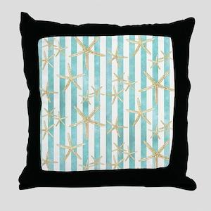 Starfish, White Finger Ocean Shells B Throw Pillow