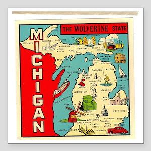 "State of Michigan Square Car Magnet 3"" x 3"""