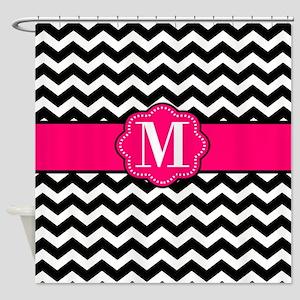 Pink Black Chevron Monogram Shower Curtain