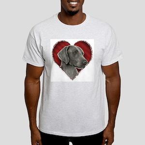 Weimeraner Valentine Ash Grey T-Shirt