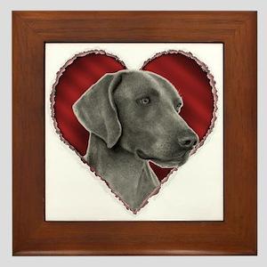 Weimeraner Valentine Framed Tile