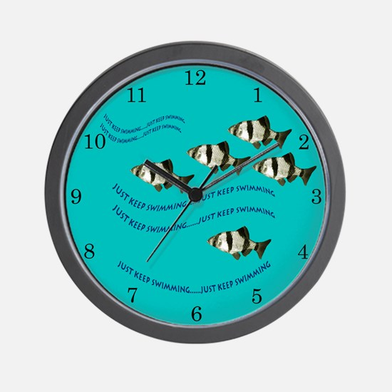 Just Keep Swimming Blue Fish Clock Wall Clock