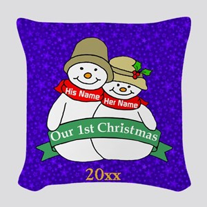 Our 1st Christmas Woven Throw Pillow