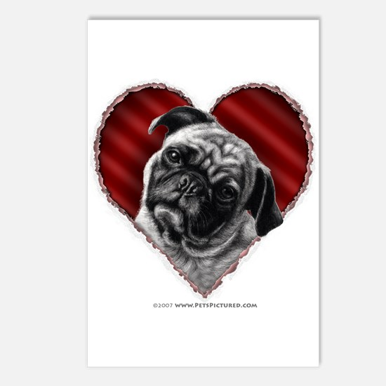 Pug Valentine Postcards (Package of 8)
