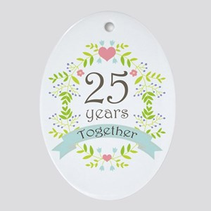 25th Anniversary flowers and hearts Ornament (Oval