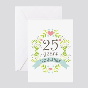 25th Anniversary flowers and hearts Greeting Cards