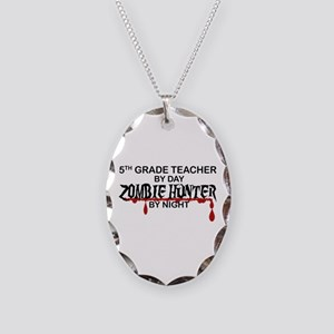 Zombie Hunter - 5th Grade Necklace Oval Charm