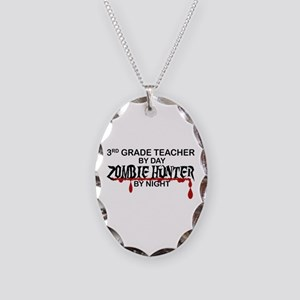 Zombie Hunter - 3rd Grade Necklace Oval Charm