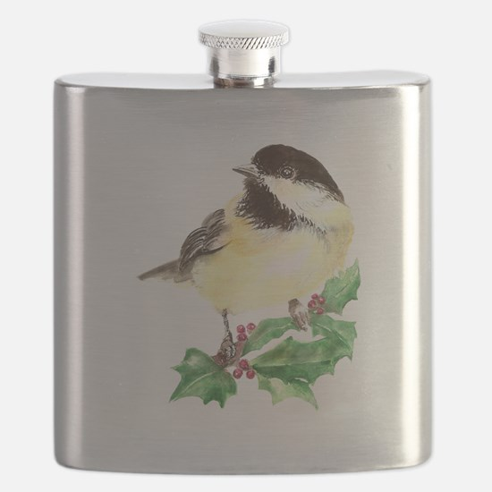 Cute Watercolor Chickadee Bird Holly Berry Christm