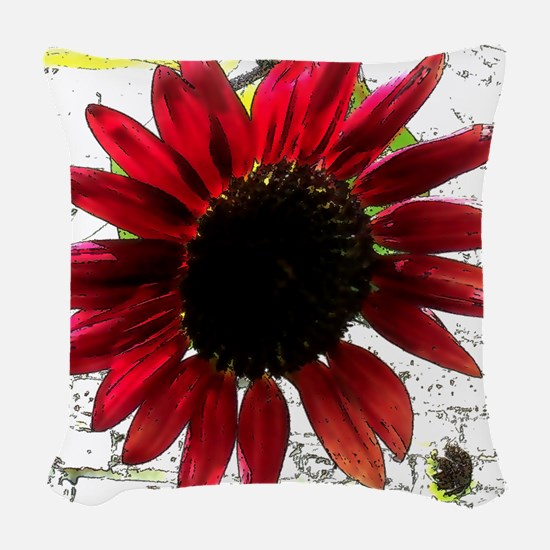 Red Sunflower Woven Throw Pillow
