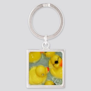 Rubber Ducky Square Keychain