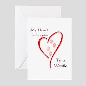 Westie Heart Belongs Greeting Cards (Pk of 10)