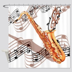 Abstract Saxophone Shower Curtain