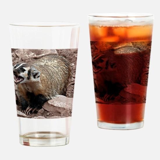 Snarling Fighting Badger Drinking Glass