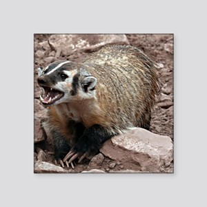 "Snarling Fighting Badger Square Sticker 3"" x 3"""