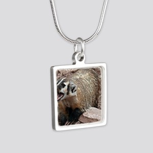Snarling Fighting Badger Silver Square Necklace