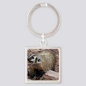 Snarling Fighting Badger Square Keychain