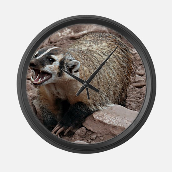 Snarling Fighting Badger Large Wall Clock