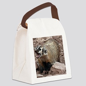 Snarling Fighting Badger Canvas Lunch Bag