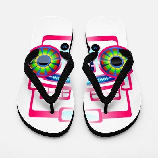 Pink Music Boombox Flip Flops