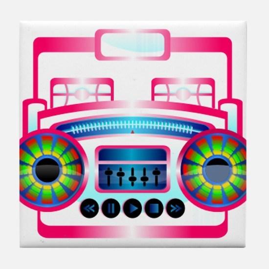 Pink Music Boombox Tile Coaster