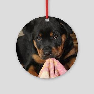 Rottweiller Puppy Round Ornament