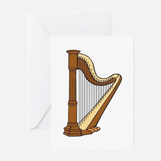Musical Harp Greeting Cards