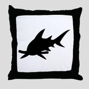 Hammerhead Shark Silhouette Throw Pillow