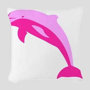 Pink Dolphin Woven Throw Pillow