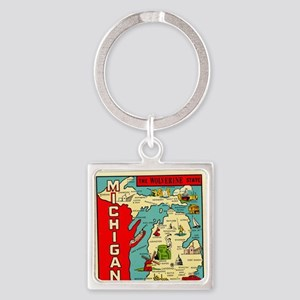 vintage michigan Square Keychain