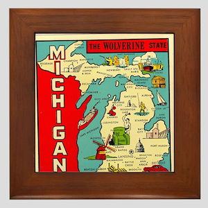 vintage michigan Framed Tile