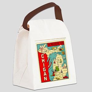 vintage michigan Canvas Lunch Bag