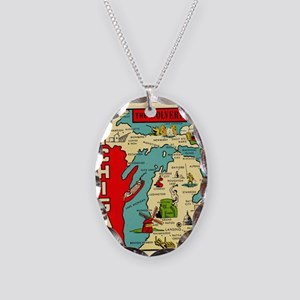 vintage michigan Necklace Oval Charm